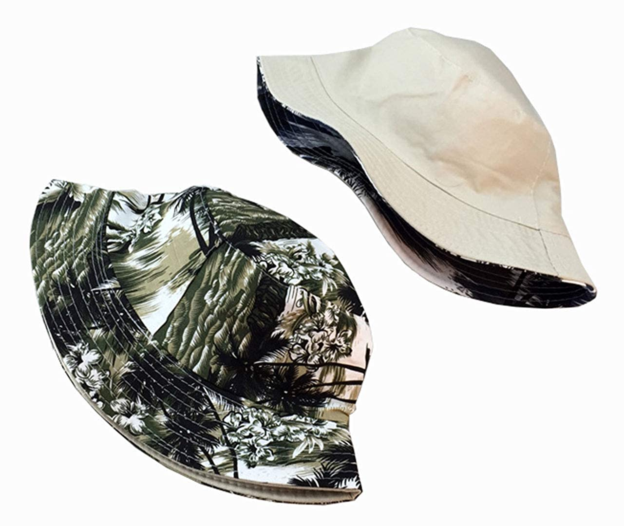 Floral Print Bucket Hat Hawaii Tropical Pattern Fisherman Cap Coconut Tree Reversible Packable Sun Hats