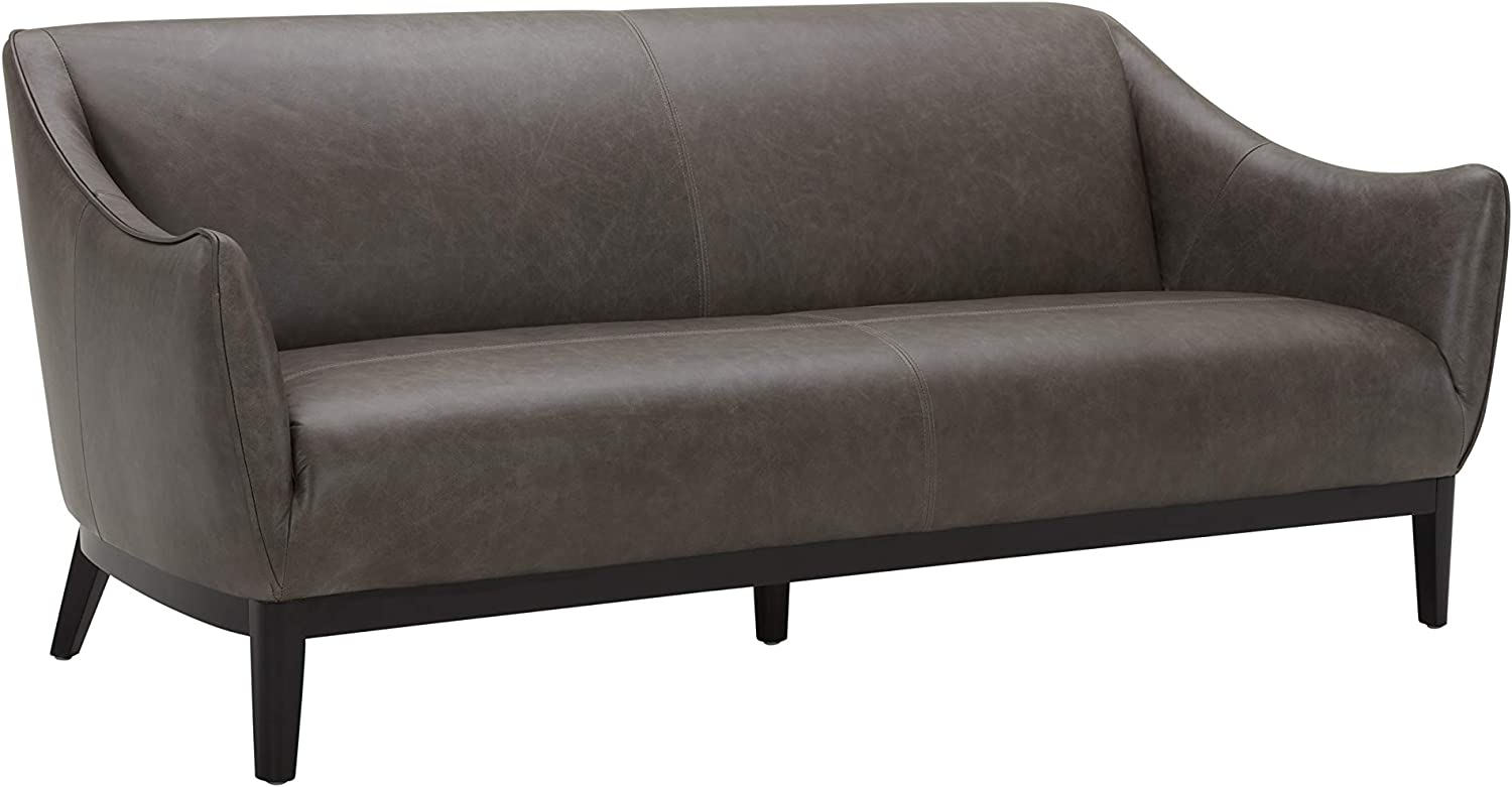 """Amazon Brand – Rivet Bayard Contemporary Leather Sofa Couch with Curved Armrests, 76""""W, Grey"""