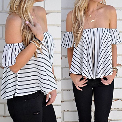 Hylong Summer Womens Ladies Casual Off The Shoulder Tops Tank Lesiure T-Shirt Blouse by Hylong (Image #3)