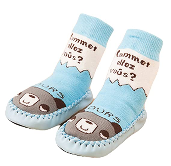 9fe62442b198 Cute Baby Boys Girls Toddlers Moccasins Non-Skid Indoor Shoes Socks Slippers  Light Blue Bear