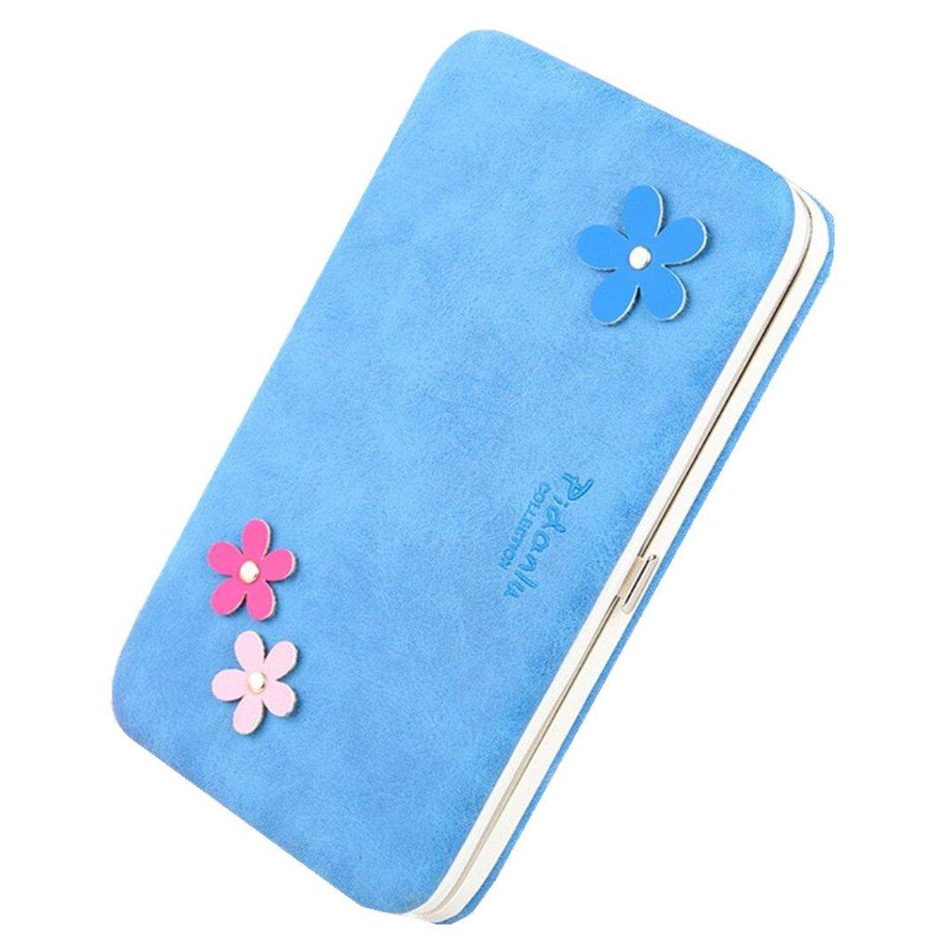 Wristlet Clutch Wallet for Women Flower Hard Wallet Case Long Leather Wallet for 6 inch Cellphone Large Capacity Evening Bag Handbag (Blue)