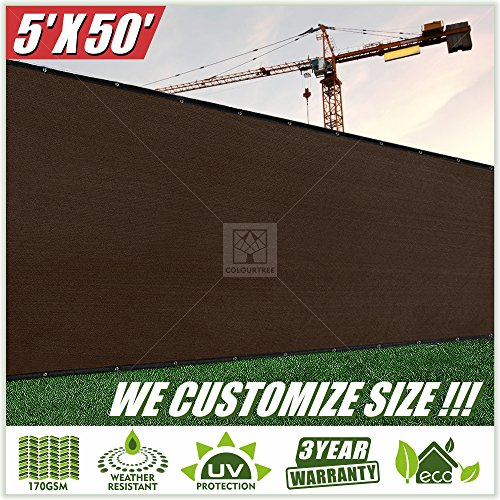 Cheap ColourTree 5′ x 50′ Brown Fence Privacy Screen Windscreen, Commercial Grade 170 GSM Heavy Duty, We Make Custom Size