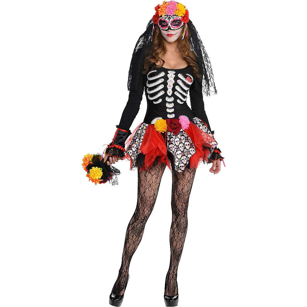 Features Sugar Skull Panels and Flowers Suit Yourself Day of the Dead Tutu for Adults One Size up to Womens Size 8
