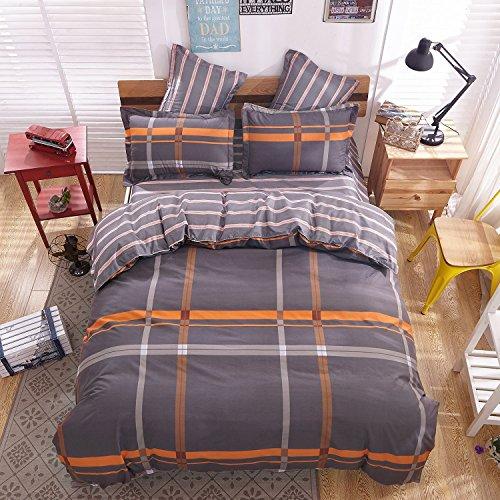 Casofu Cotton Fashion Environmental Protection Printing Plate Bedding Set (orange&gray,Full,4-Piece) (Orange Bedding Set)