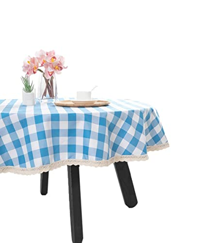 Nobildonna 55Inch Gingham Checkered Tablecloth, Blue U0026 White Checker, Round  Lace Polyester Tablecloth