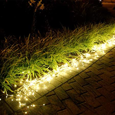 A set of SKYFIRE Twinkle Fairy Lights layed down the side of a path