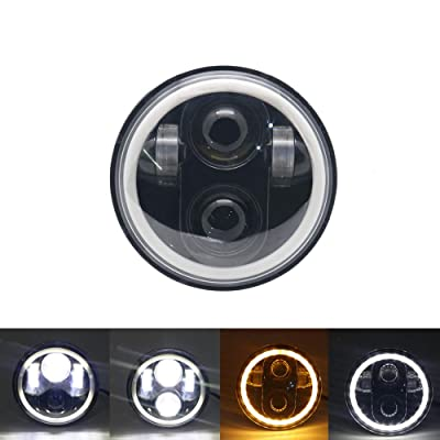 """SOYAVISION 5 3/4"""" 5.75 High/Low Beam Projector LED Headlight with White DRL Amber Turn Signal Halo Ring for Harley Sportster, Dyna, Indian Scout Motorcycle Headlamp Driving Light: Automotive"""
