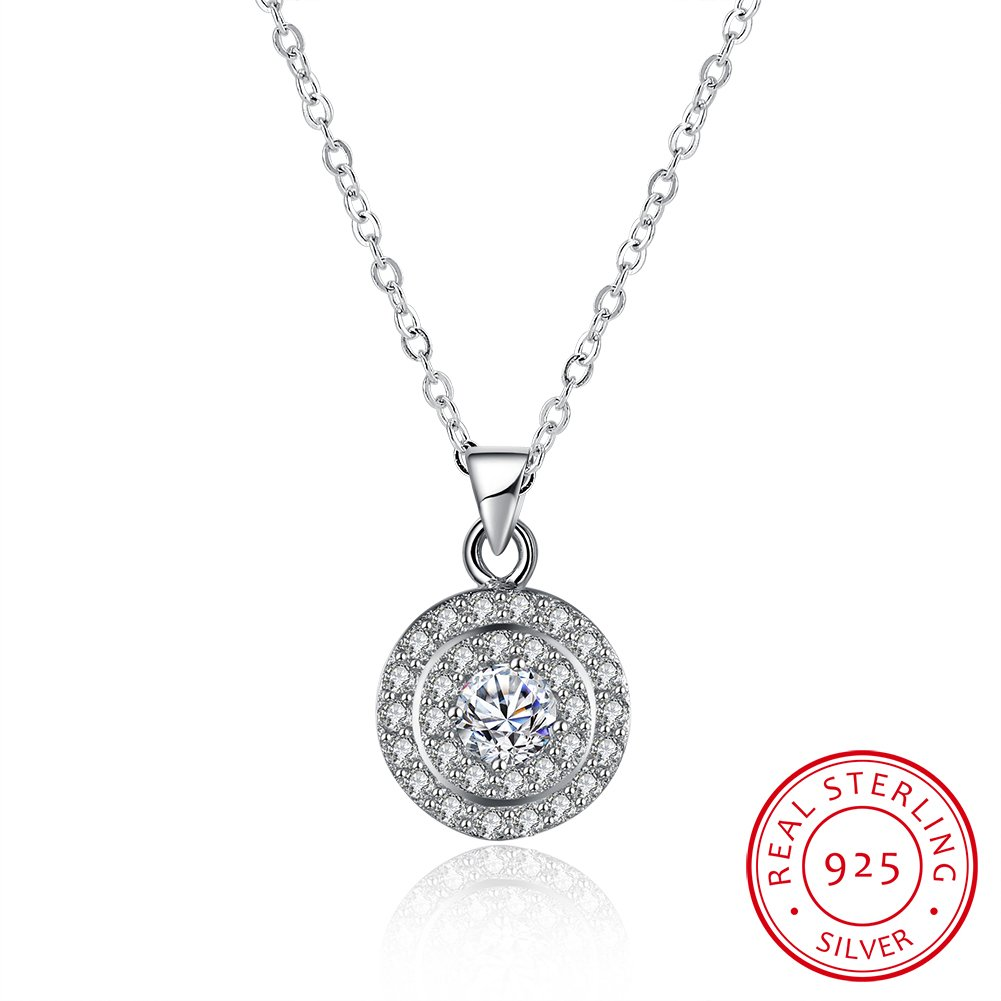 BALANSOHO 925 Sterling Silver Round Cubic Zirconia Halo Pendant Necklace 18'' Gifts for Women Girls ZWQSVN116