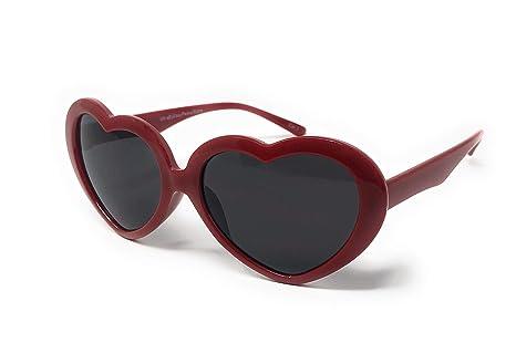 UltraByEasyPeasyStore Gafas de Sol Clásicas en Forma Corazón para Niños Marcos Color Rojo Protección UV400 UVA UVB Lolita Girls Cute Retro Fashion ...