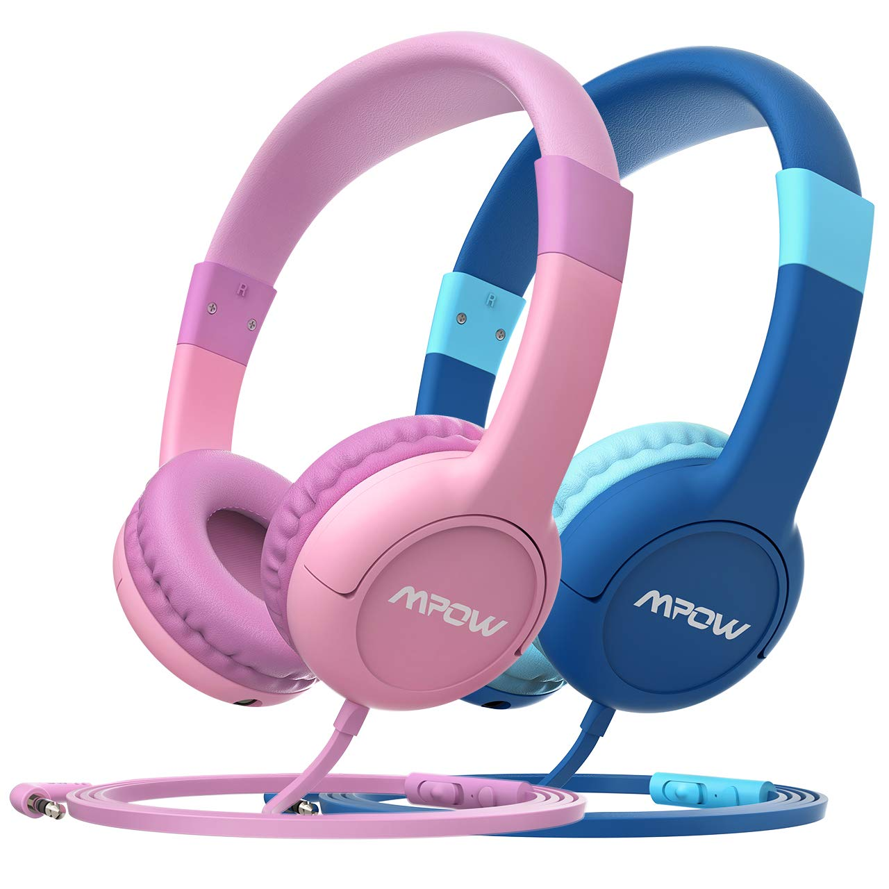 Mpow Kids Headphones, CH1S Mic & Volume Control 85dB Limiting Headset, Sharing Music Headphone Children Kid On-Ear Earphone, School/Home/Travel, Phone PC Laptop Fire Kindle Tablet for Boy Girl(2 Pack)