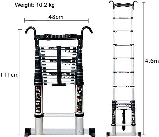 SYEA Escalera telescópica Escalera de Aluminio Extensión telescópica con estabilizador, Inferior peldaño y Desmontable Hook, 330 LB de Carga, fácil de Usar telescópica Escalera (tamaño : 4.6m): Amazon.es: Hogar