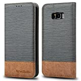 WenBelle For Galaxy S8 Plus Case, [Blazers Series] Stand Feature,Double Layer Shock Absorbing Premium Soft PU Color matching Leather Wallet Cover Flip Cases For Samsung Galaxy S8 Plus 6.2 inch (Grey)