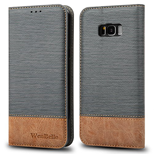 WenBelle for Galaxy S8 Plus 6.2 Case, Stand Feature,Double Layer Shock Absorbing Premium Soft PU Color Matching Leather Wallet Cover Flip Cases for Samsung Galaxy S8+,S8 Plus 6.2 inch (Grey)