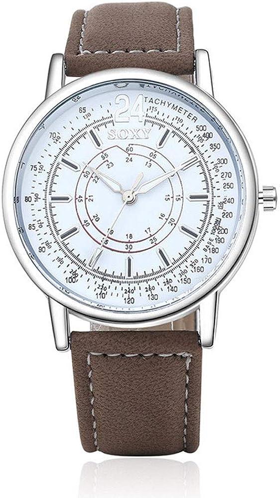 ROVNKD Reloj de pulsera analógico de cuarzo con correa de piel y encanto militar.
