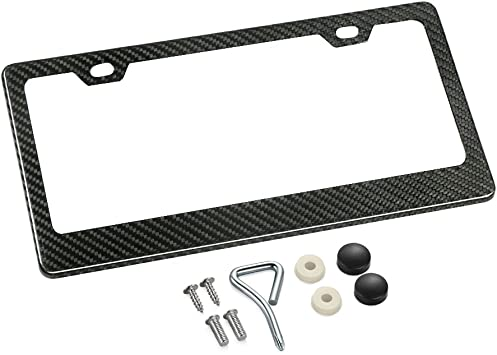 1 Frame Real 100/% Black Carbon Fiber Motorcycle License Plate Frame With Matching Screw Caps