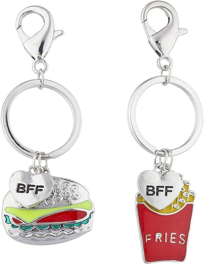 Lux Accessories Burgers Fries Best Friends BFF Charm Keychain Set