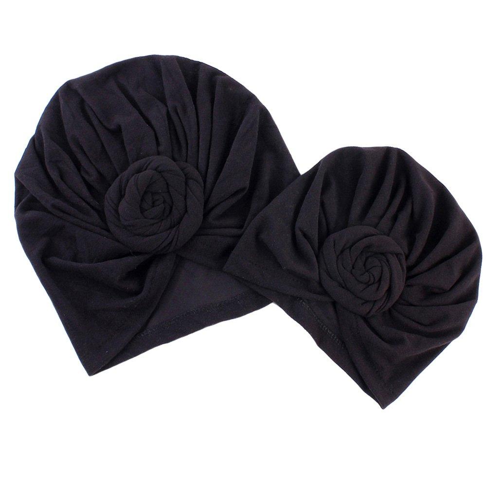 Prettyia M/ère Et B/éb/é Fichus et Foulards de T/ête Fleur Coton Yoga Cancer Noeud Turban Beanie Chapeau