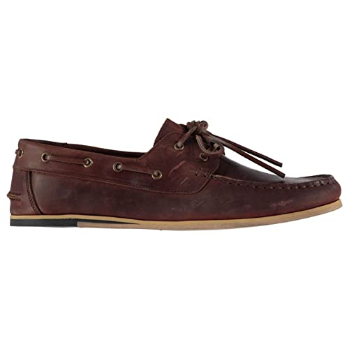 Mens Avisos Boat Shoes Lace Up Classic Stitched Detailing Leather