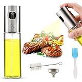 AJOXEL Dispensador de pulverizador de aceite, Oil Sprayer 100 ml Vinagre /Aceite de oliva de Acero Inoxidable Botella de Vidrio para Herramienta de Cocina cocinar,Ensalada, Hornear pan, Parrilla