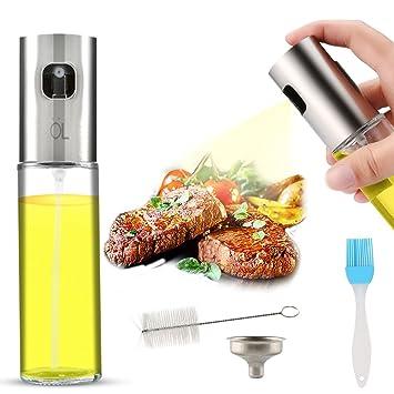 AJOXEL Ölsprüher Speiseöl,Öl Sprühflasche Edelstahl und Glas100 ml Oil Sprayer Olivenöl Sprayer Öl/Essig Spender Flasche Küch