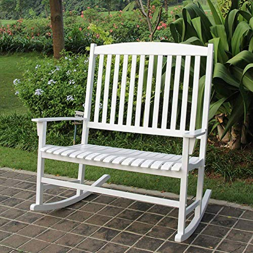 (Mainstays Solid Hardwood Outdoor Patio Double Rocking Chair, White, Seats)