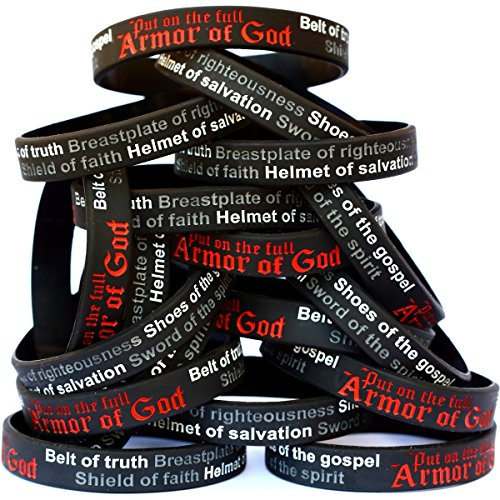 SayitBands 20 Armor of God Wristband Bracelets Ephesians 6:10-18