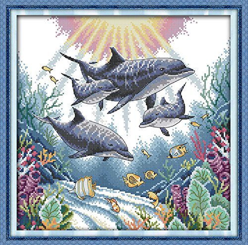 Count Stamped Cross Stitch (Joy Sunday Cross Stitch Kit 14CT Stamped Embroidery Kits Precise Printed Needlework - Dolphin 36×36CM)