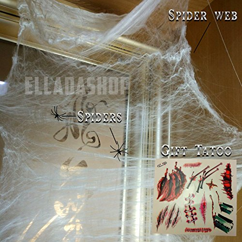 Spider Web Makeup (Spider Web Decoration.Halloween Stretch Spider Webbing.White Spider Webs Set.Fake Spiders.Tattoo Scar Makeup)
