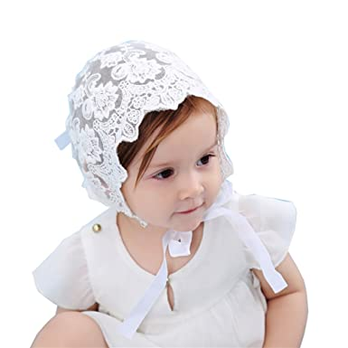 Velidy Newborn Infant Baby Girls Kids Lace Floral Hat Bonnet Breathable Baby  Cap Bonnet (White 330250946528