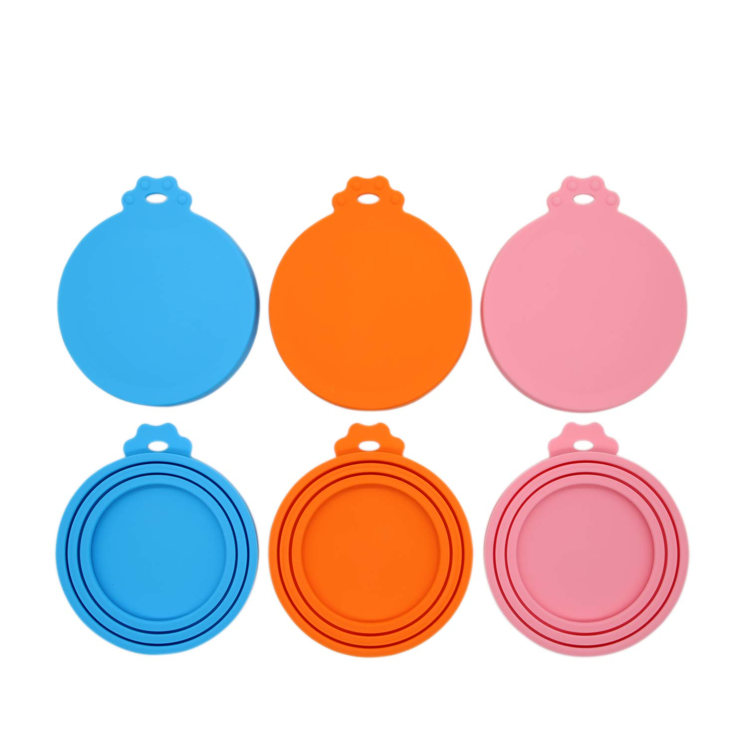 RUHHER Universal Can Lids/Silicone Can Covers for Pet Food Cans/Fits Most Standard Size Cans/100% FDA Certified Food Grade Silicone and BPA Free (6 Pack, 2 in Blue&2 in Orange&2 in Pink)