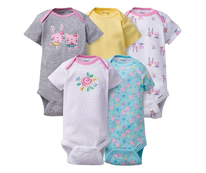 15db06f3bb59 Amazon.com  Gerber Onesies 6-9 Months Baby Girls Bunny Outfits 5 ...