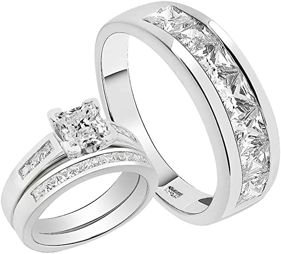 His Hers 3 pc Engagement Wedding Bridal Womens Rings Set /& Mens Band Brand New