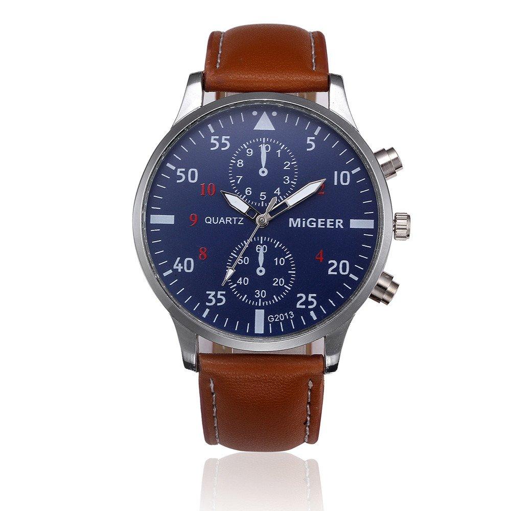 Men Quartz Watch,Hotkey Men's Retro Design Analog Alloy Quartz Wrist Watch Waterproof Unique Business Casual Fashion Watch,PU Leather Band,Alloy Case CS-3162 (Brown)