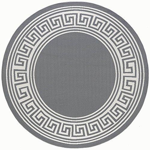 - Gaia Greek Key Gray Round Easy-Care Indoor/Outdoor Area Rug, 8' Round