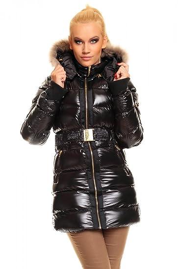Jolina Jacke Mantel mit Kapuze Glanz Optik schwarz Gr. S XL