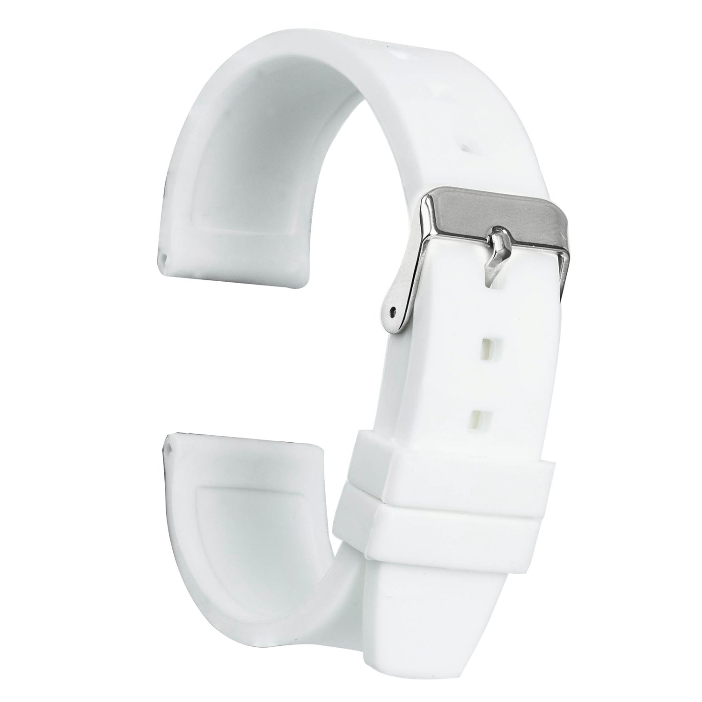 ullchroシリコン時計ストラップ交換ゴム時計バンド防水滑らかな柔軟な腕時計ブレスレット 18mm ホワイト 18mm|ホワイト ホワイト 18mm B077D69BHL