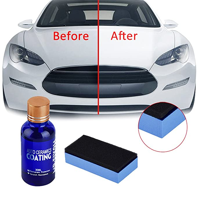 High Gloss Ceramic Car Coating Kit, Anti-Scratch Exterior Care Paint  Sealant 9H Hardness 30ML (1Pcs)