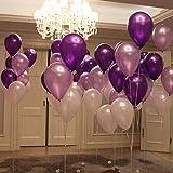 "UTOPP 12"" White Light Purple Dark Violet Balloons Thick Latex Helium Balloons 9.88 Oz/bag for Christmas Carnival Festival Birthday Party Pack of 100"