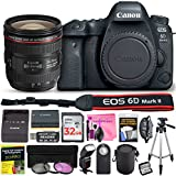 Canon EOS 6D Mark II 26.2 MP Digital SLR Camera (Wi-Fi Enabled) ESSENTIAL Single Lens STARTER Kit with Camera Body, EF 24-70mm f/4L IS USM Lens & Deluxe Camera Works Accessory Bundle