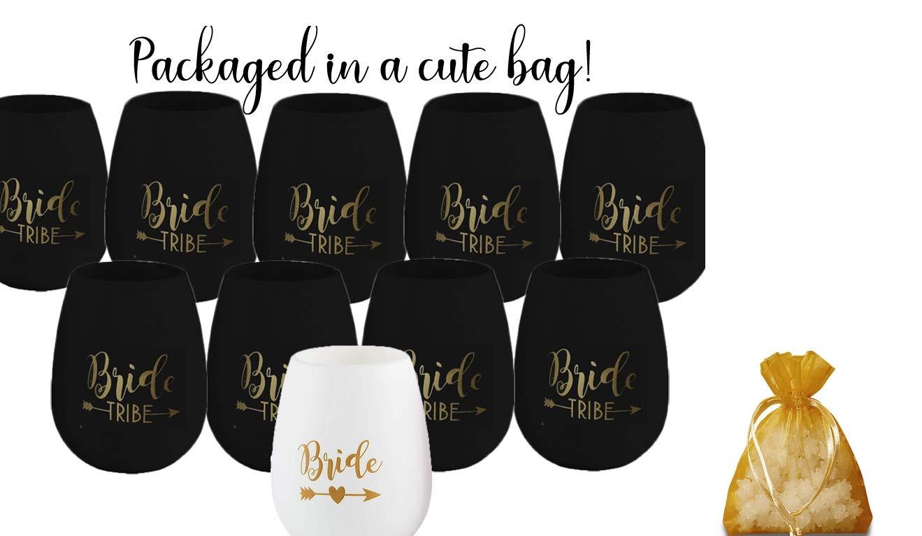 Bride Tribe Bachelorette Party Set: 1 Bride White Silicone Wine Cup all In a Cute Gold Organza Bag