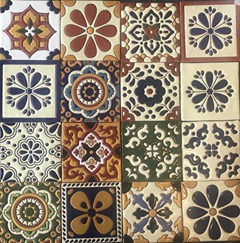 "Ceramic Relief Talavera Mexican Tile 6X6"", 16 MIXED DESIGNS (NO STICKERS)"