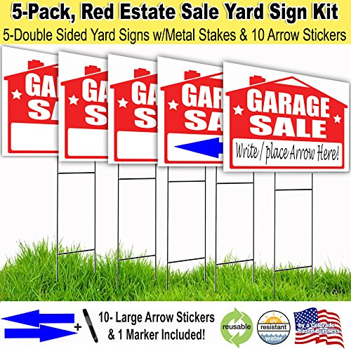 Visibility Signage Garage Sale Lawn Sign Kit with Free Permanent Poster Marker and Arrow Stickers (5) Signage Kit