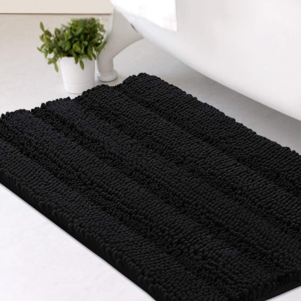 """Bath Mats for Bathroom Non Slip Extra Thick Chenille Striped Bath Rug 20"""" x 32"""" Absorbent Non Skid Fluffy Soft Shaggy Rugs Washable Dry Fast Plush Mats for Indoor, Bath Room, Tub - Jet Black"""