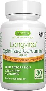 Igennus Longvida Optimized Curcumin 500mg, Ultra Bioavailable & Sustained Action, Vegan – 30 Capsules