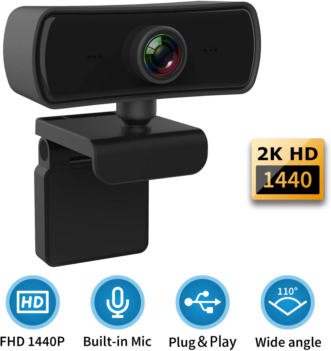 1440P HD Webcam with Microphone, USB 2.0 Desktop Laptop Computer Web Camera with 4G Auto Light Correction, Plug and Play, for Windows Mac OS, Vista,Linux,for Video Streaming, Gaming, Online Classes