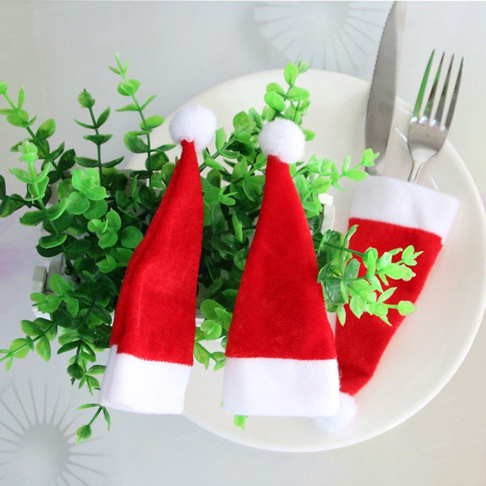Compra Vajilla de Navidad Bolsillos Santa Hat cuchillo cuchara Bolsas de tenedor Mini botella Decorado sombreros 8 piezas en Amazon.es