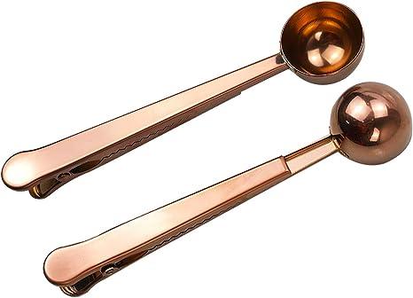 Coffee Measuring Spoon Scoop /& Bag Sealing Clip Stainless Steel Hot K1C9
