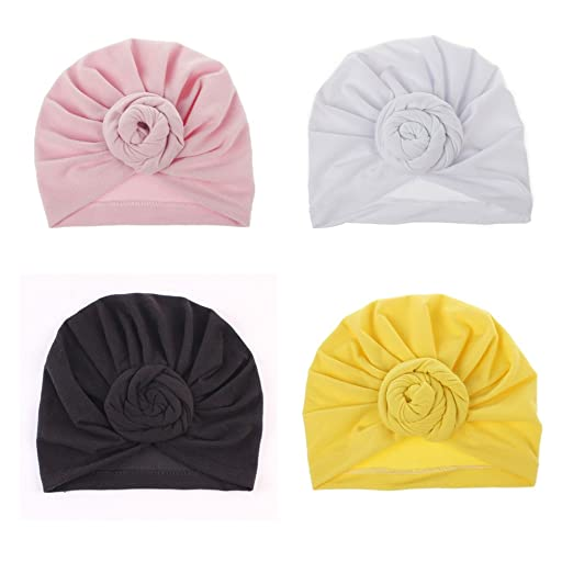 24f17f0ffdf CaJaCa Newborn Baby Toddler Cotton Hat Babys Turban Kids Knotted Hat Cap  Set (X014)