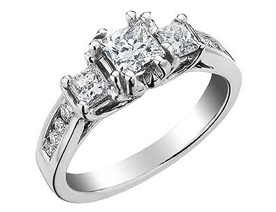 653dd95932afc Princess Cut Three Stone Diamond Engagement Ring 1.5 Carat (ctw) in ...