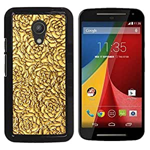 Qstar Arte & diseño plástico duro Fundas Cover Cubre Hard Case Cover para Motorola MOTO G 2ND GEN II ( Golden Roses Wallpaper Pattern Surface)